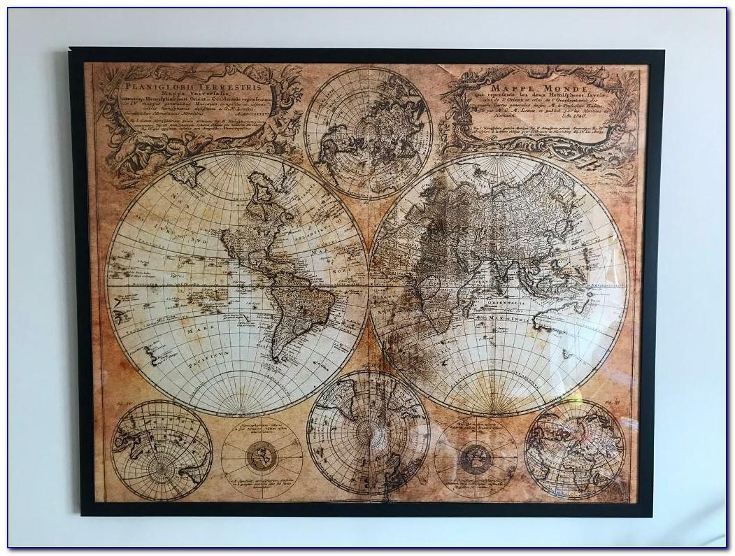 Framed Antique World Map
