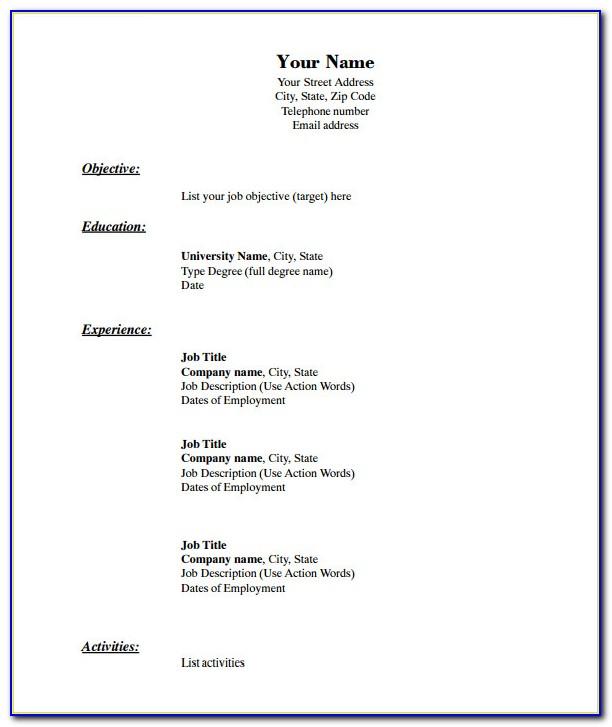 Free Blank Professional Resume Templates