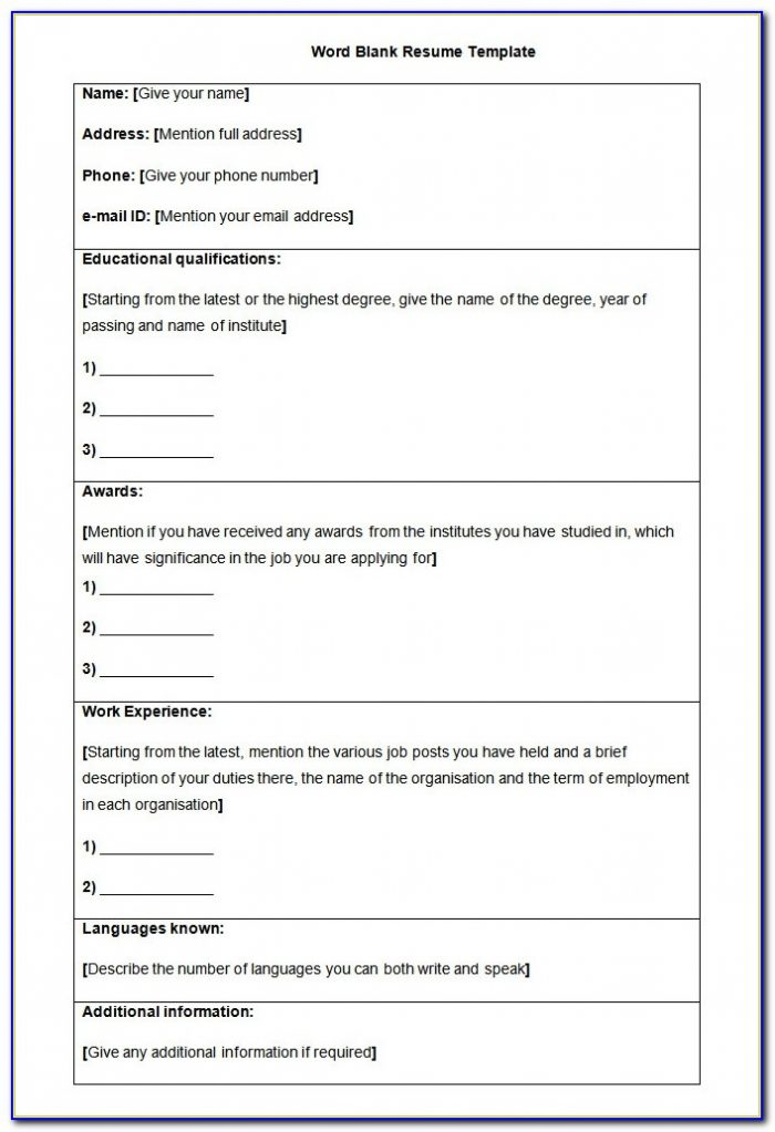 Free Blank Resume Form Printable - Form : Resume Examples ...