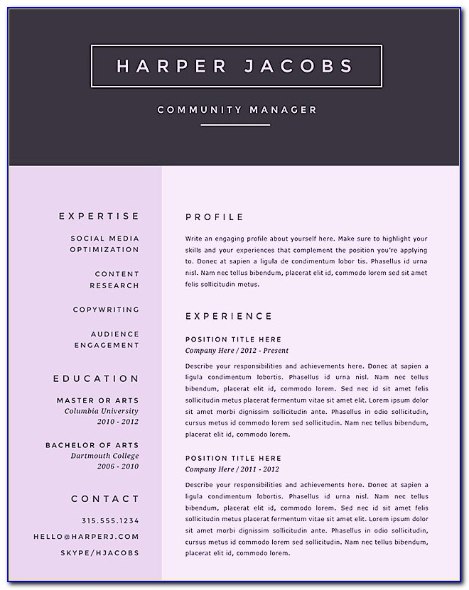 Free Creative Resume Templates Powerpoint