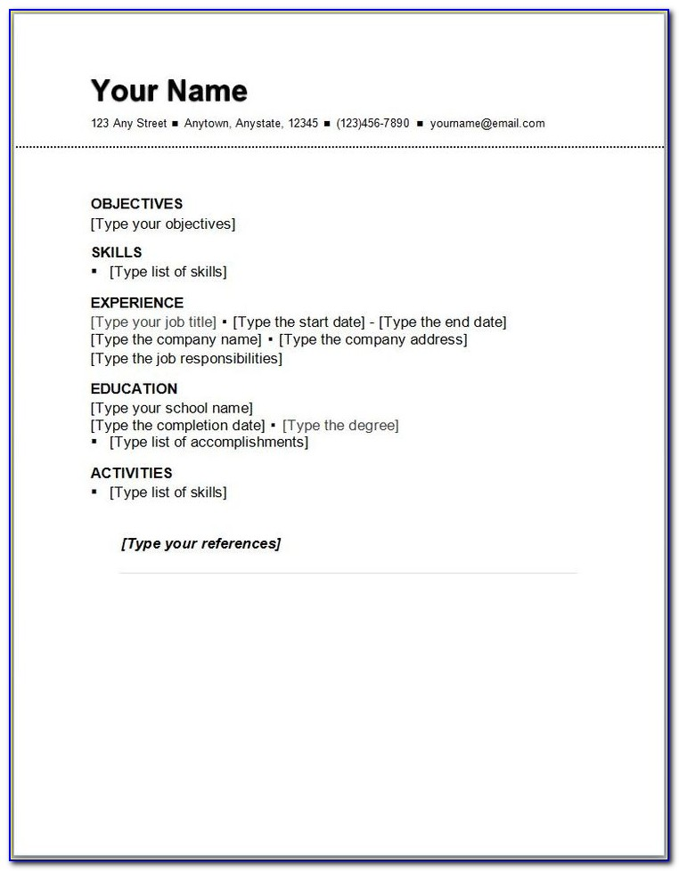 Free Examples Of Simple Resumes