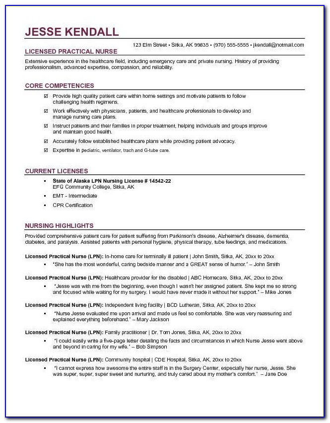 Free Lpn Resume Template Download
