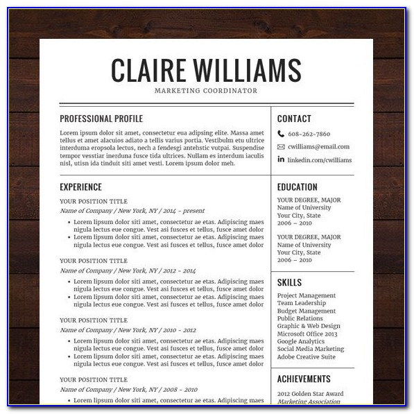 Free Modern Professional Resume Templates For Word
