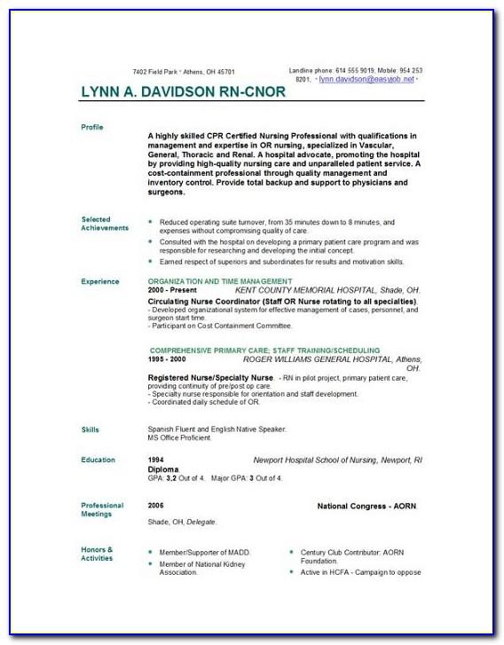 Free Nursing Curriculum Vitae Templates