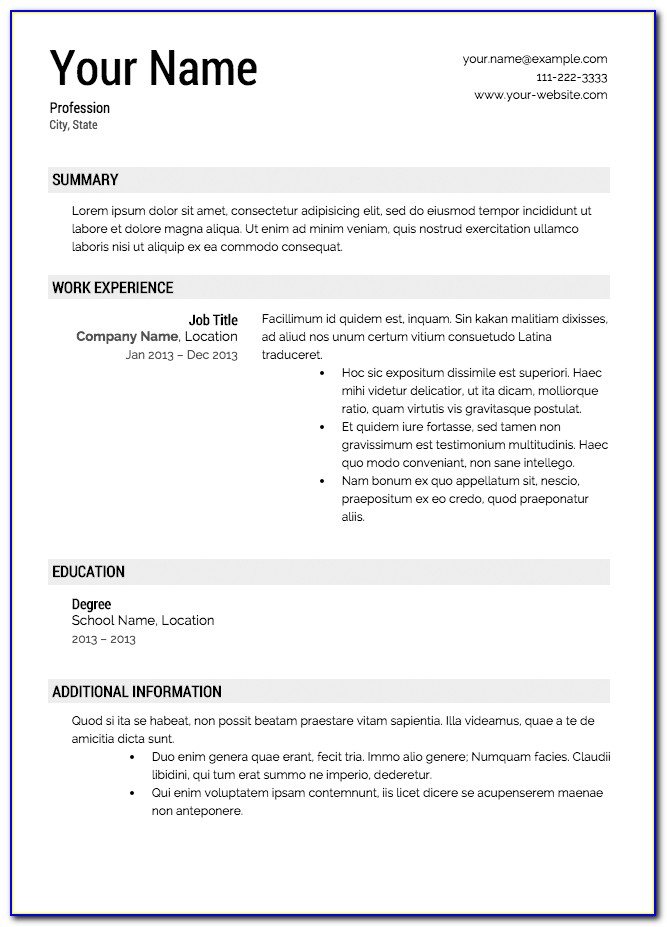 Free Resume Templates With Resume Builder Template