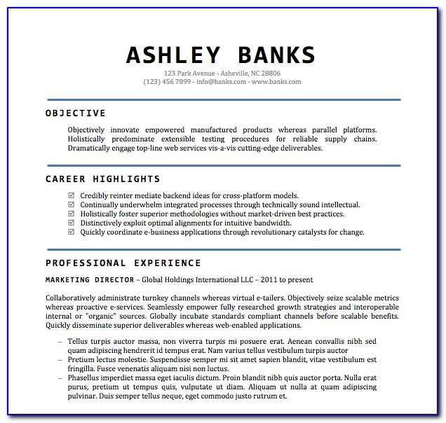 Free Resume Formats For Freshers