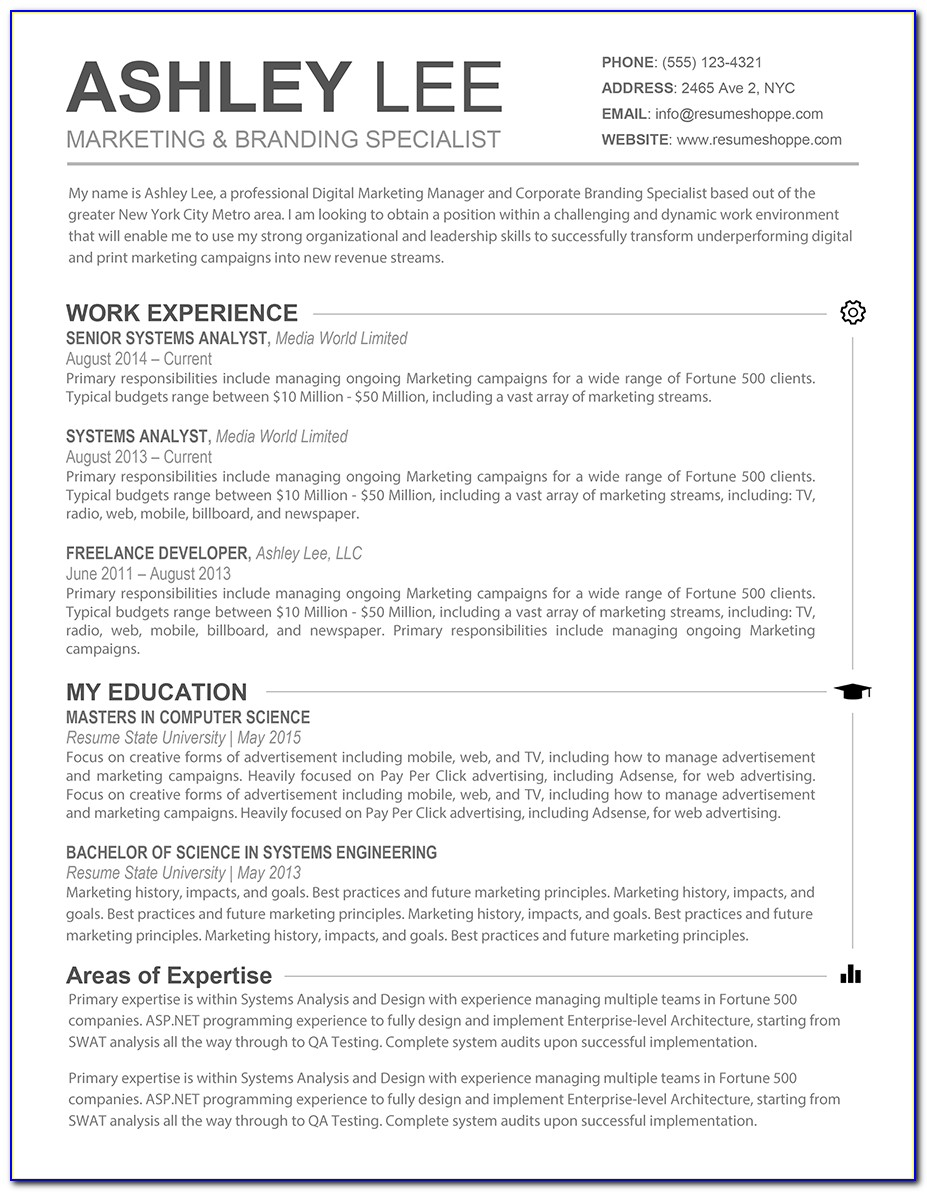 Free Resume Template For Pages Mac