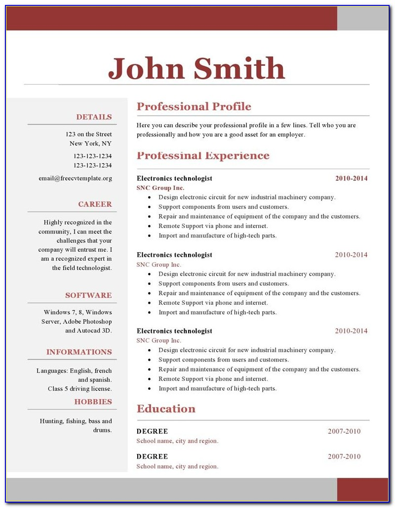 Free Resume Templates For Mac Download