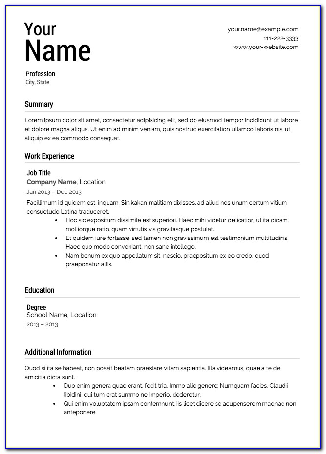 Free Resume Templates For Macbook Pro