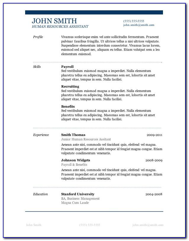 Free Resume Templates For Wordpress