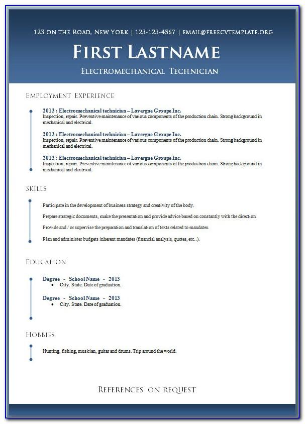 Free Resume Templates Microsoft Word 2017