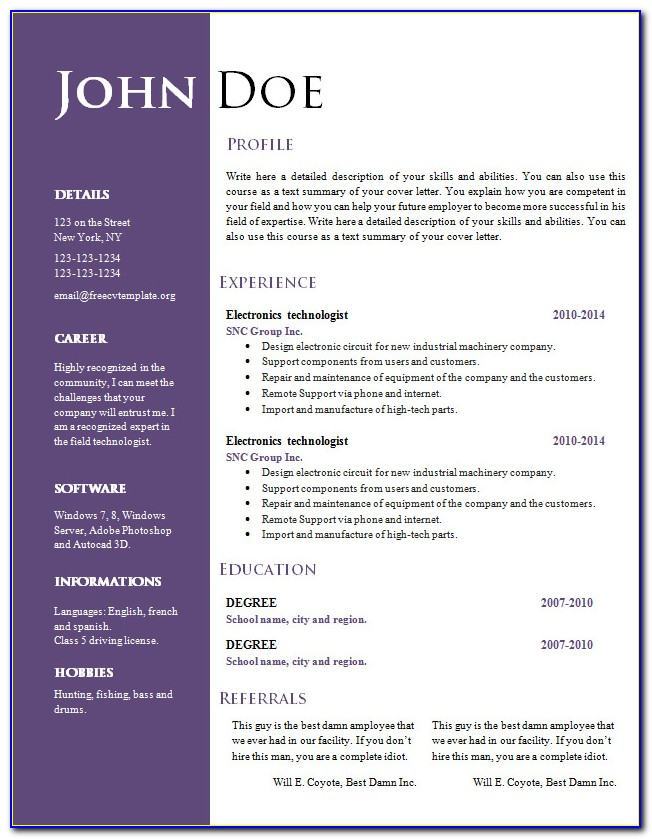 Free Resume Templates Word Online