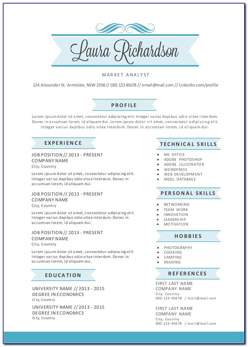 Free Stylish Resume Templates 2018