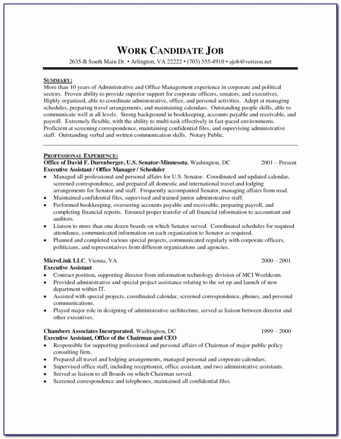 Functional Resume Executive Assistant