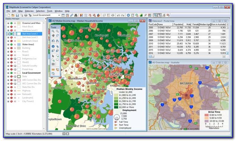 Maptitude Australia Mapping Software Interface