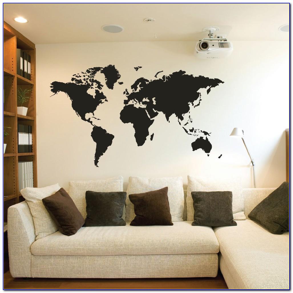 Geometric World Map Vinyl Wall Decal Sticker