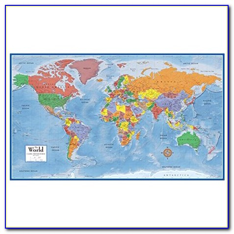 Giant World Map Poster Laminated