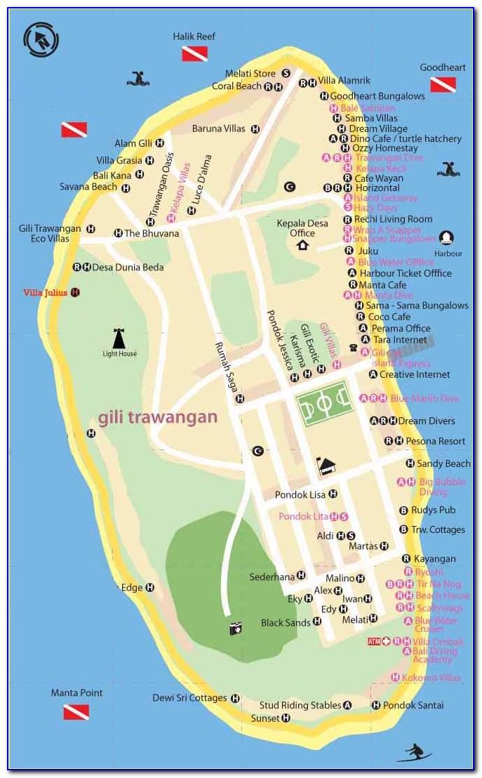 Gili Trawangan Hotel Map