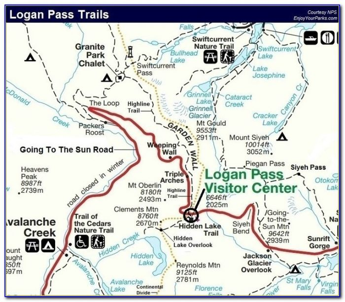 Glacier National Park Backcountry Trail Map