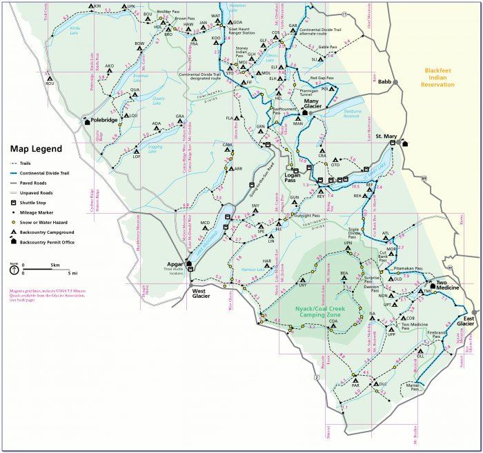 Glacier National Park Trail Map With Distances