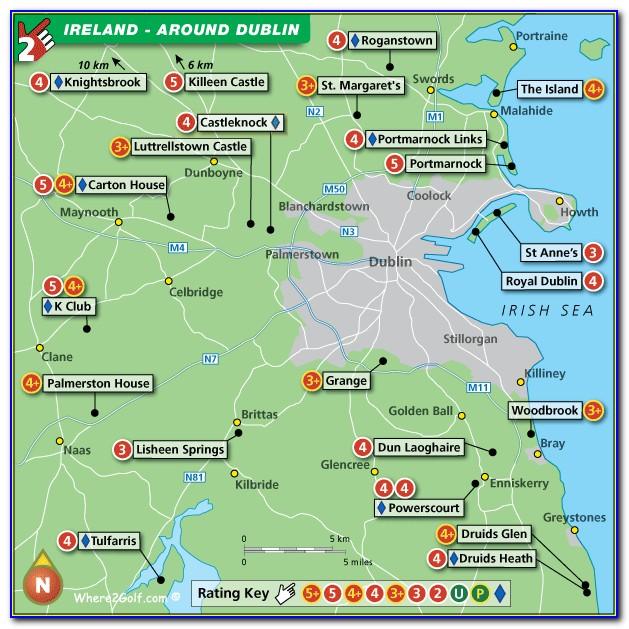 Golf Courses Dublin Map