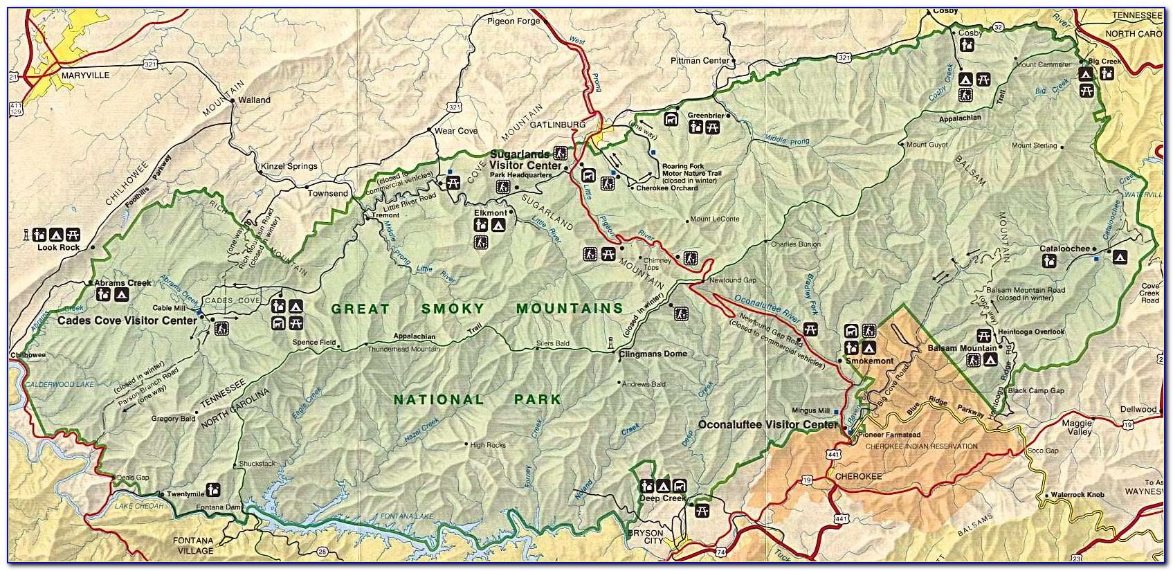 Great Smoky Mountains National Park Appalachian Trail Map