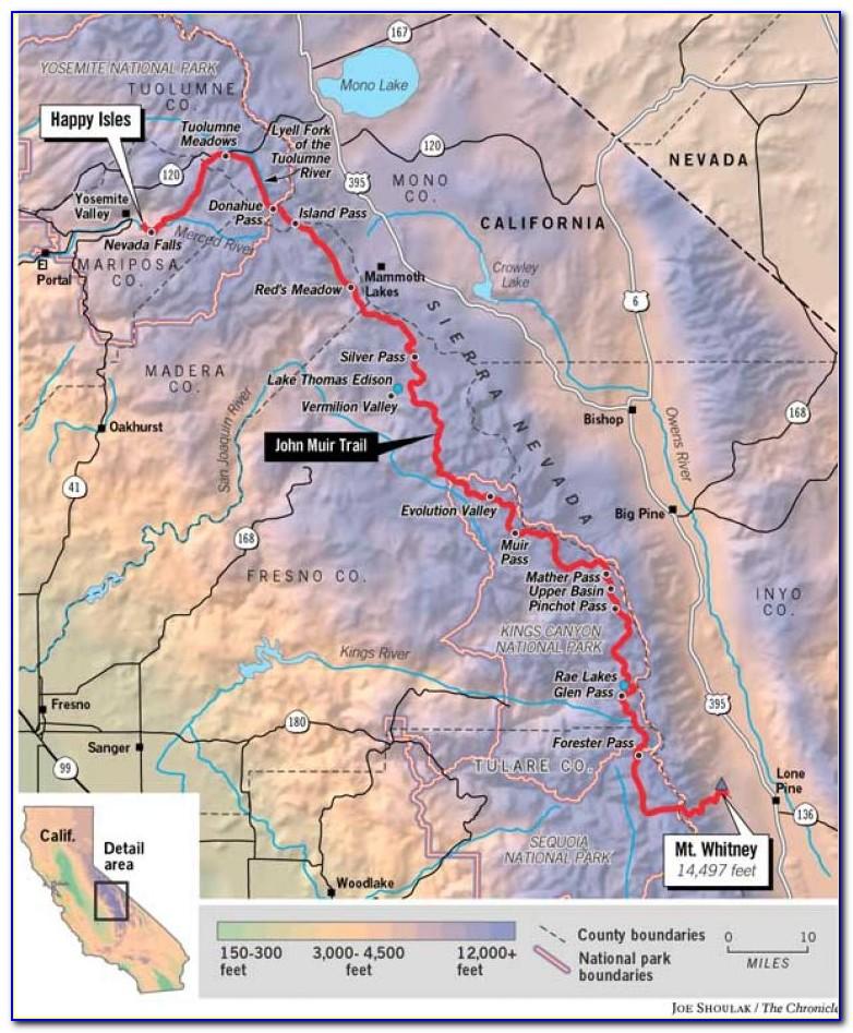Hiking Map John Muir Trail