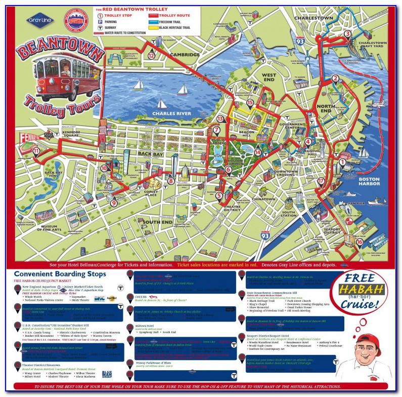 Map Of Boston Trolley Tour Maps Update 21051488 Boston Map Tourist