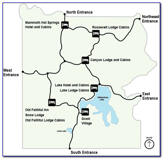 Hotel Map Of Yellowstone National Park