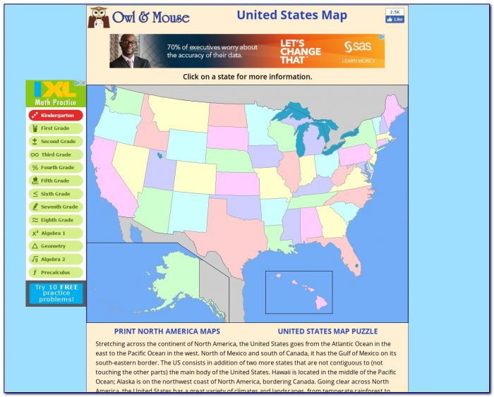 Interactive Usa Talking Puzzle Map With Capitals