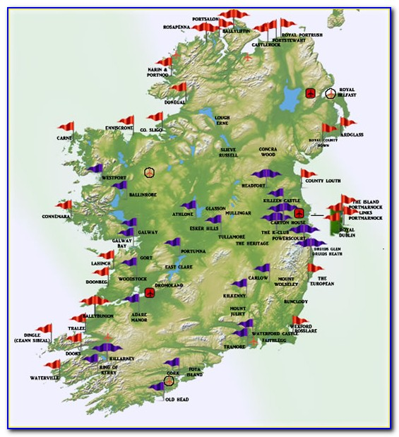 Irish Golf Courses Map