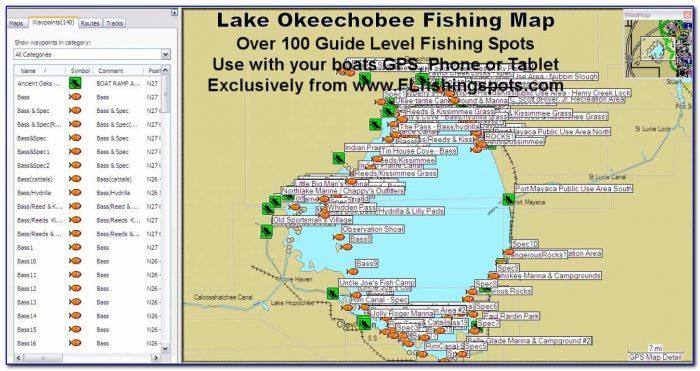 Lake Okeechobee Bass Fishing Map