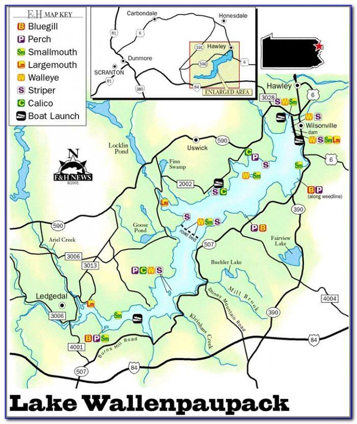 Lake Wallenpaupack Hydrographic Map