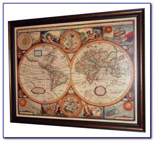 Large Antique World Map Framed