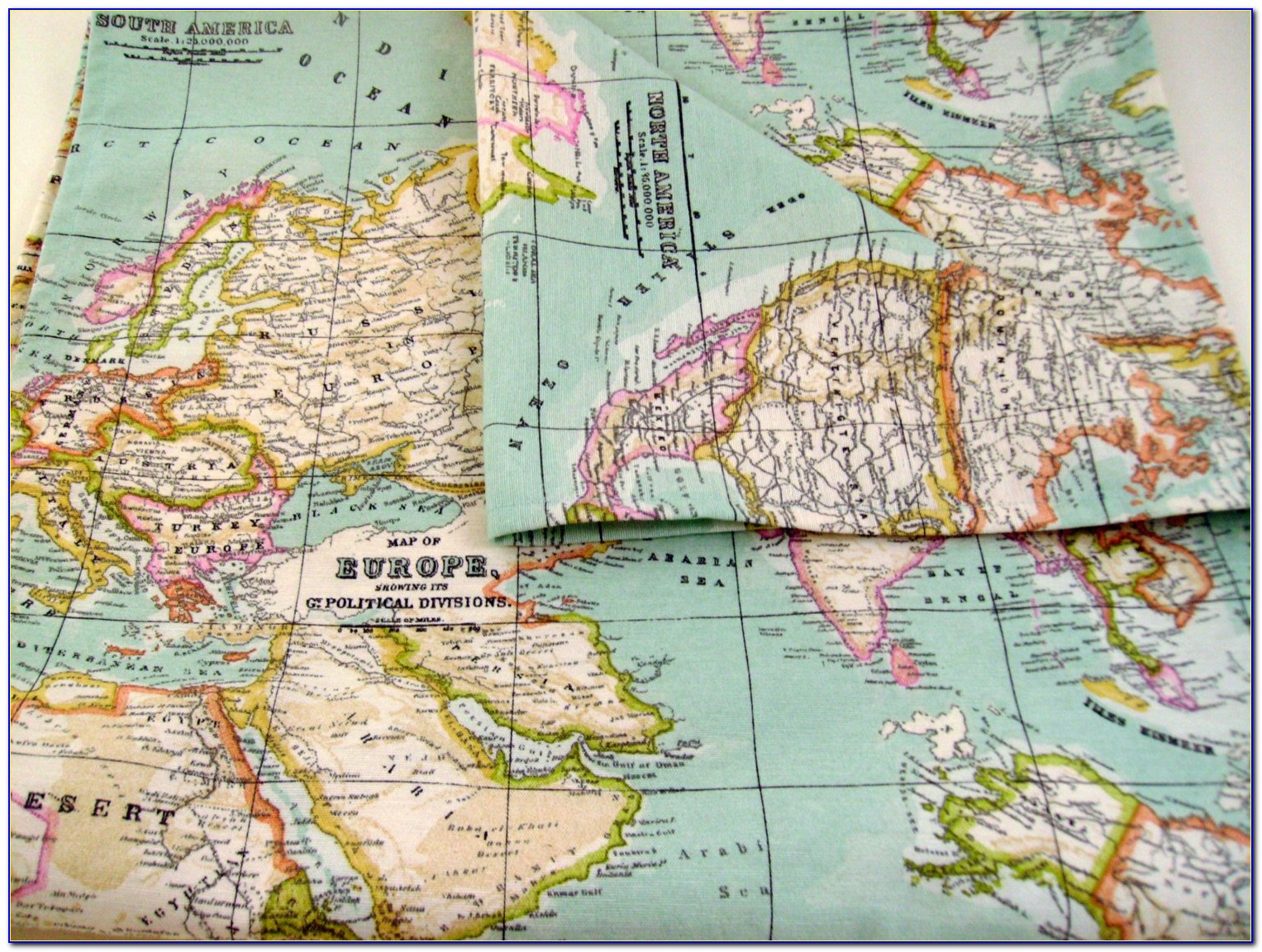 Large Cloth Map Of The World