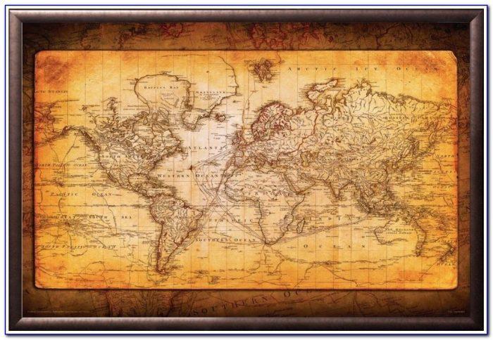 Framed Old World Map Framed World Map Antique Antique Amber Premium Wood