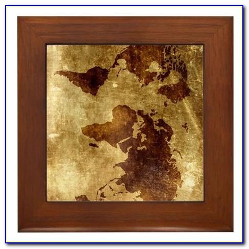 Large Framed Vintage World Map