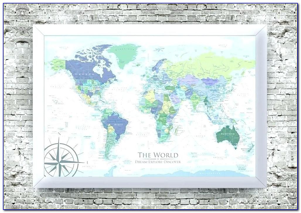 Large Framed World Map Pinboard