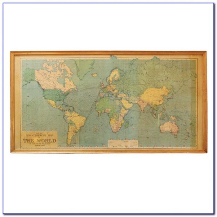 Large Framed World Map Poster