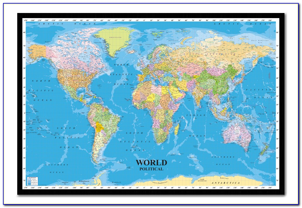 Large Framed World Maps