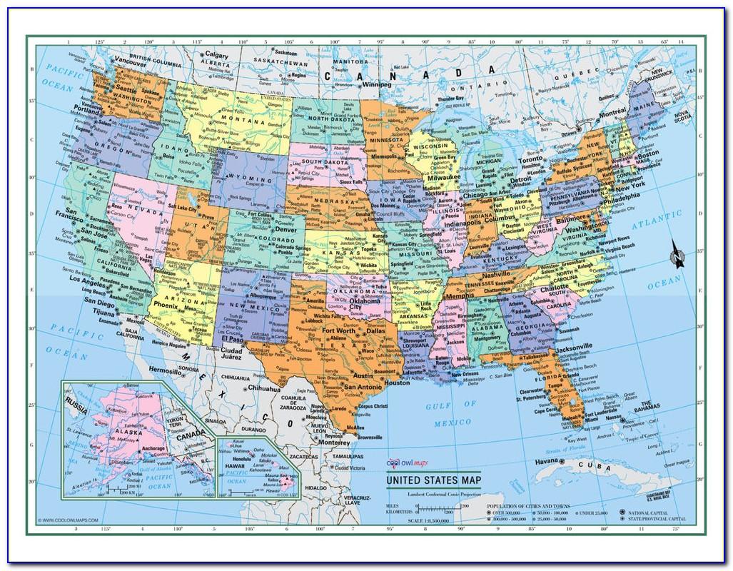 Large Laminated Us Road Map