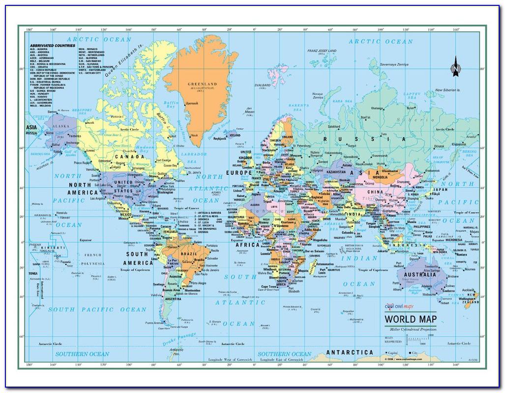 Large Laminated World Wall Maps