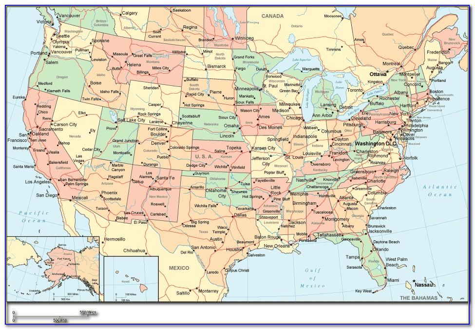 Large Print Us Road Map