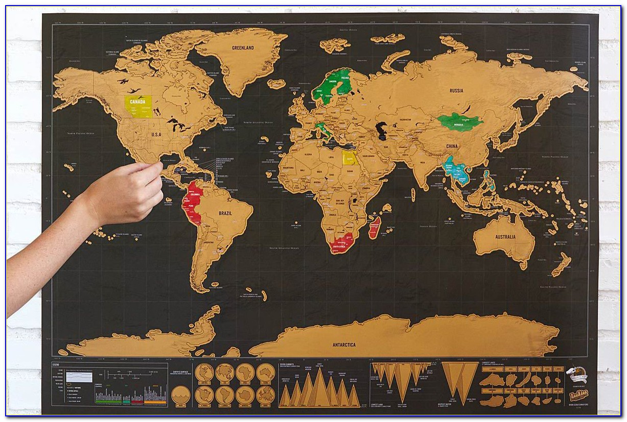 Large Size Personalized Scratch Off World Map Poster Travel (silver)