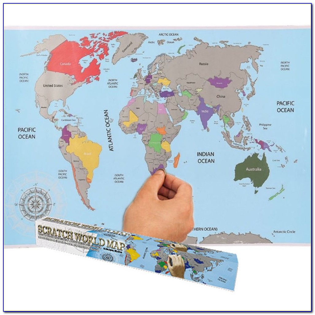 Large Size Personalized Scratch Off World Map Poster Travel Toy