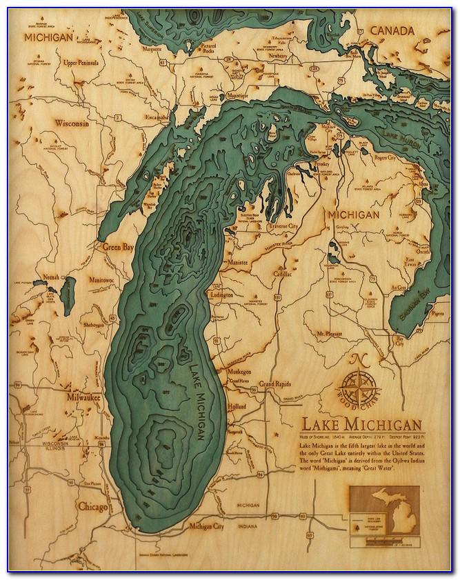Laser Cut Wood Lake Map
