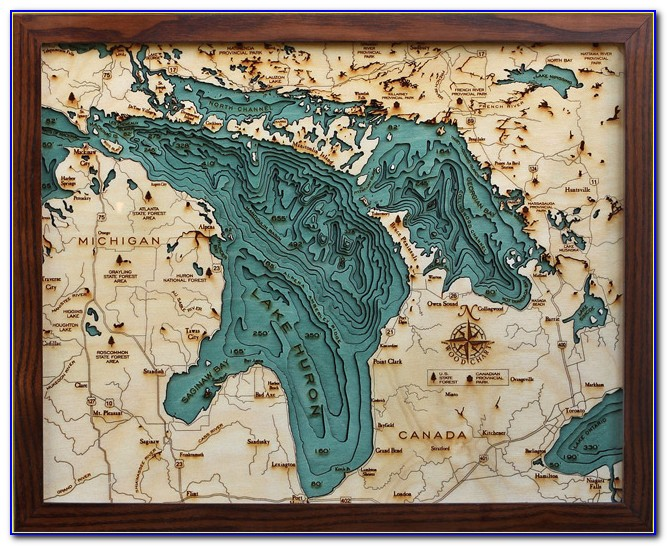 Laser Cut Wooden Lake Maps