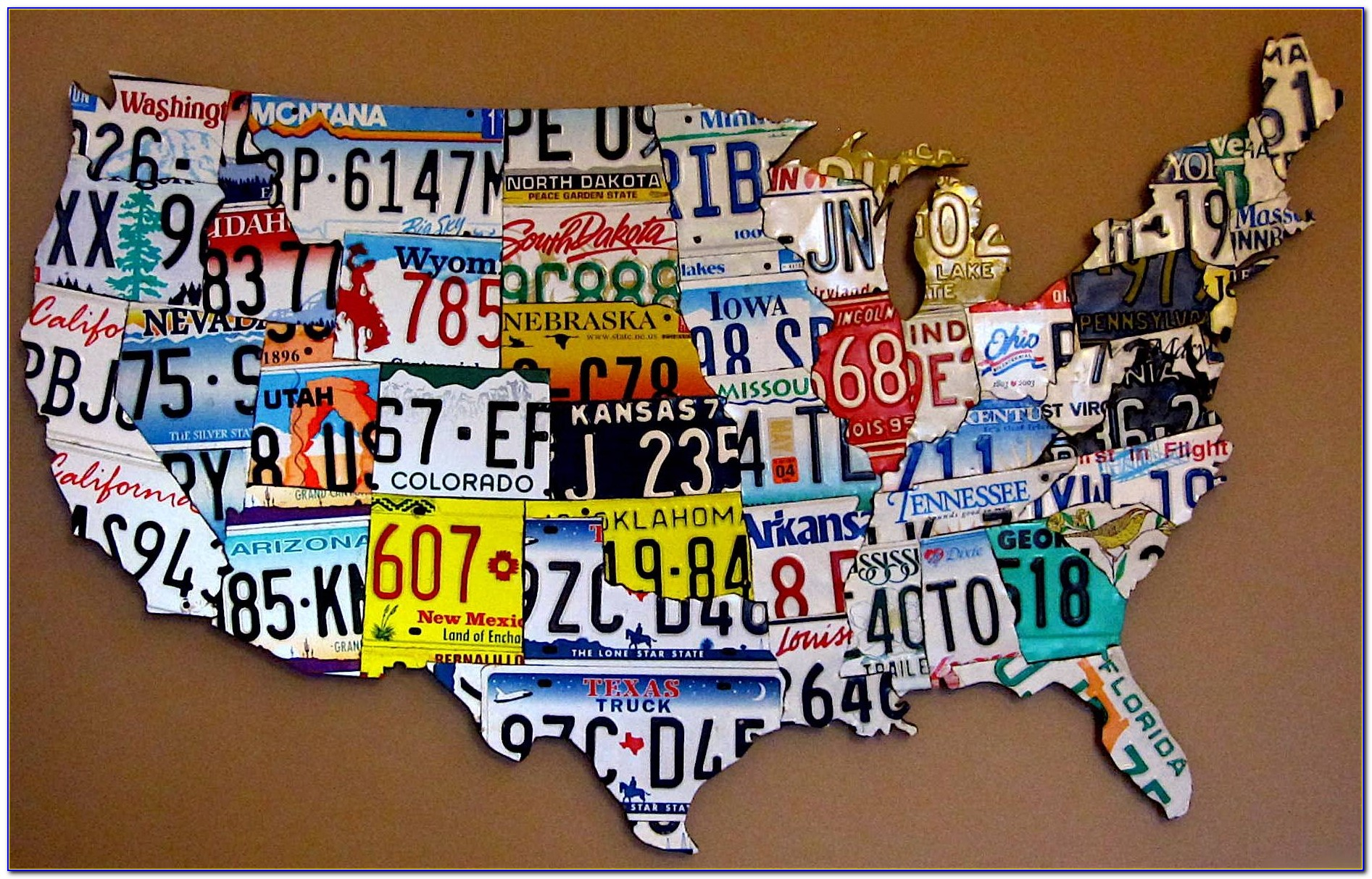 Purchase License Plate Art And Mapsdesign Within Usa Map Print Pertaining To Most Popular License Plate Map Wall Art