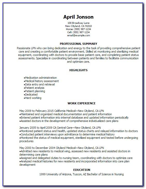 Licensed Practical Nurse Resume Template