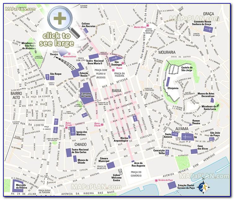 Lisbon Top Tourist Attractions Printable City Map